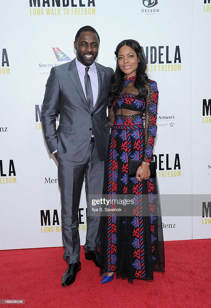 Idris Elba and Naomie Harris attend the New York premiere of 'Mandela: Long Walk To Freedom' hosted by The Weinstein Company, Yucaipa Films and Videovision Entertainment, supported by Mercedes-Benz, South African Airways and DeLeon Tequila at Alice Tully Hall, Lincoln Center on November 14, 2013 in New York City.