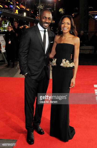 """Idris Elba and Naomie Harris attend the Royal Film Performance of """"Mandela: Long Walk to Freedom"""" at Odeon Leicester Square on December 5, 2013 in..."""
