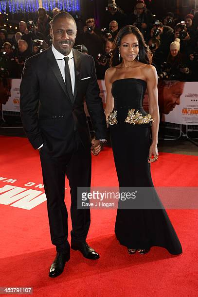 Idris Elba and Naomie Harris attend the Royal film performance of Mandela Long Walk To Freedom at The Odeon Leicester Square on December 5 2013 in...
