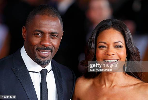 Idris Elba and Naomie Harris attend the Royal film performance of 'Mandela: Long Walk to Freedom' at Odeon Leicester Square on December 5, 2013 in...