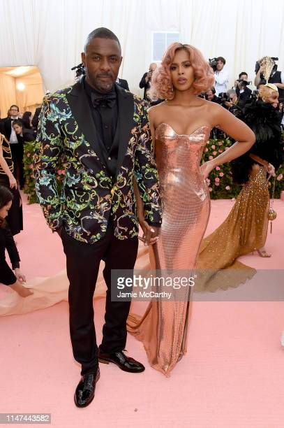 Idris Elba and Sabrina Dhowre attend The 2019 Met Gala Celebrating Camp Notes on Fashion at Metropolitan Museum of Art on May 06 2019 in New York City