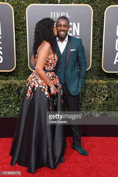 Idris Elba and Sabrina Dhowre attend the 76th Annual Golden Globe Awards at The Beverly Hilton Hotel on January 6 2019 in Beverly Hills California
