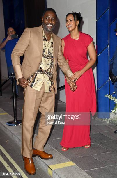 Idris Elba and Sabrina Dhowre Elba attend the British Vogue x Tiffany & Co. Fashion and Film party at The Londoner Hotel on September 20, 2021 in...