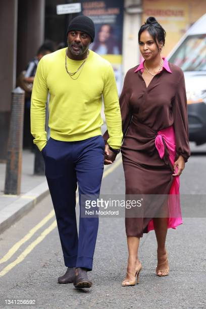 Idris Elba and Sabrina Dhowre Elba seen attending Roland Mouret at the Soho Hotel during London Fashion Week September 2021 on September 19, 2021 in...
