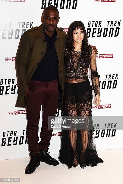 Idris Elba and Sofia Boutella attend the UK Premiere of 'Star Trek Beyond' at Empire Leicester Square on July 12 2016 in London England