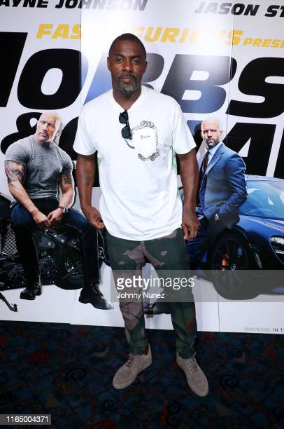 "Idris Elba attends ""Fast & Furious Presents: Hobbs & Shaw"" screening hosted by Idris Elba and Angie Martinez on July 29, 2019 at Regal Cinema in New..."
