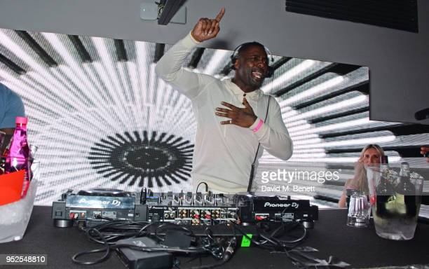 Idris Elba DJs at the ABB Formula E Qatar Airways Paris EPrix official after party at Le Dernier Etage on April 28 2018 in Paris France