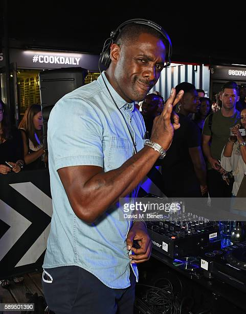Idris Elba DJs at the launch of his new Boxpark retail space which will stock Idris Elba Superdry exclusively on August 14 2016 in London England