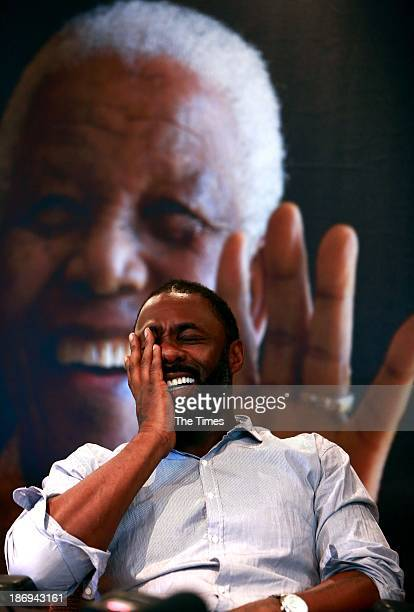 Idris Elba during a press conference at the Nelson Mandela Center of Memories on November 4 2013 in Johannesburg South Africa Elba stars as Madiba in...