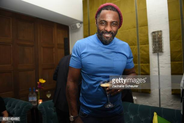 Idris Elba enjoying a Grey Goose Espresso Martini cocktail during the Grey Goose afterparty for Idris Elba's film 'Yardie' hosted at Soho House...