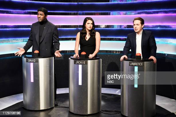 LIVE Idris Elba Episode 1761 Pictured Host Idris Elba as David Cecily Strong as Jackie and Beck Bennett as Lawrence during the Can I Play That sketch...