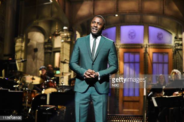 """Idris Elba"""" Episode 1761 -- Pictured: Host Idris Elba during the monologue on Saturday, March 9, 2019 --"""