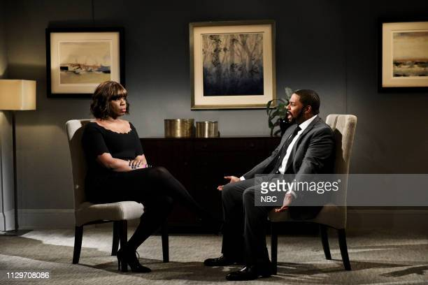 LIVE Idris Elba Episode 1761 Pictured Leslie Jones as Gayle King and Kenan Thompson as R Kelly during the R Kelly Interview Cold Open on Saturday...