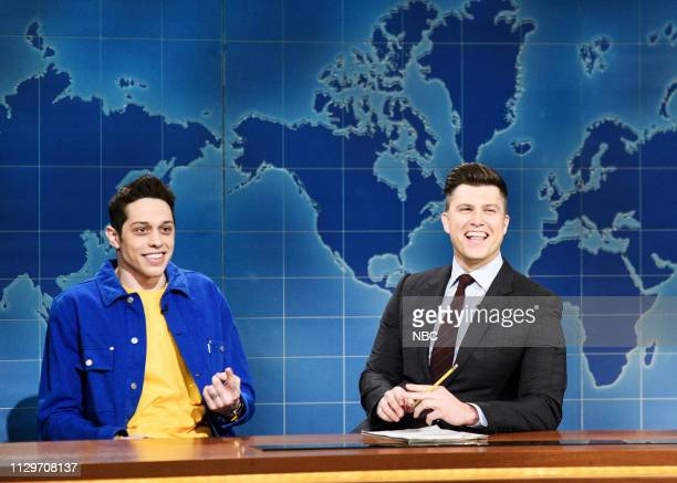 LIVE Idris Elba Episode 1761 Pictured Pete Davidson and anchor Colin Jost during Weekend Update on Saturday March 9 2019