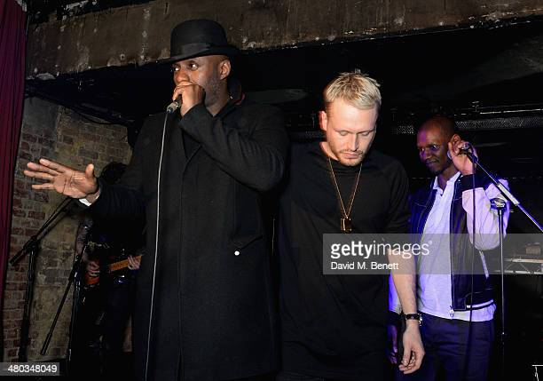 Idris Elba Mr Hudson and Giggs perform on stage at the Mr Hudson 'Step Into The Shadows' gig at London's The Box supported by Smirnoff on March 24...