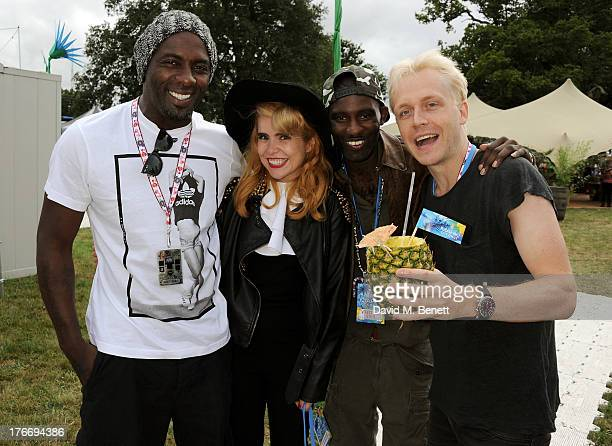 Idris Elba Paloma Faith Wretch 32 and Mr Hudson attend the Mahiki Coconut Backstage Bar during day 1 of V Festival 2013 at Hylands Park on August 17...