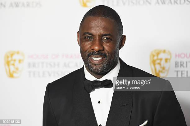 Idris Elba poses in the Winners room at the House Of Fraser British Academy Television Awards 2016 at the Royal Festival Hall on May 8 2016 in London...