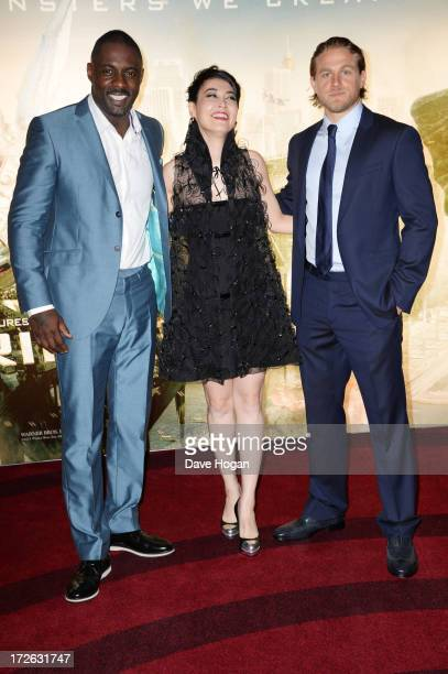 Idris Elba Rinko Kikuchi and Charlie Hunnam attend the European premiere of 'Pacific Rim' at The BFI IMAX on July 4 2013 in London England