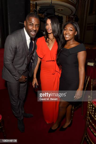 Idris Elba Sabrina Dhowre and Isan Elba attend The 64th Evening Standard Theatre Awards after party at the Theatre Royal Drury Lane on November 18...