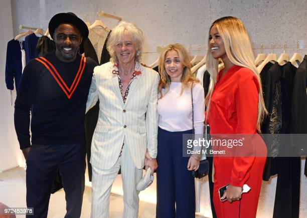 Idris Elba Sir Bob Geldof Jeanne Marine and Sabrina Dhowre attend the launch of the Stella McCartney Global flagship store on Old Bond Street on June...