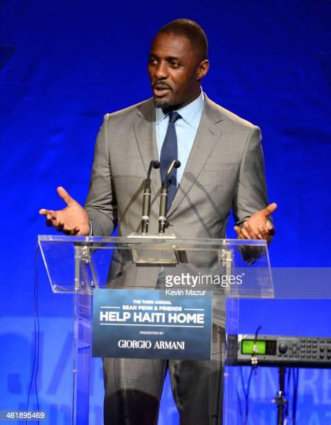 Idris Elba speaks at the 3rd annual Sean Penn Friends HELP HAITI HOME Gala benefiting J/P HRO presented by Giorgio Armani at Montage Beverly Hills on...