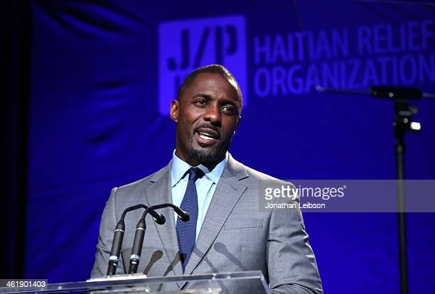 Idris Elba speaks at the 3rd annual Sean Penn Friends HELP HAITI HOME Gala benefiting J/P HRO presented by Giorgio Armani at Montage Beverly Hills on...