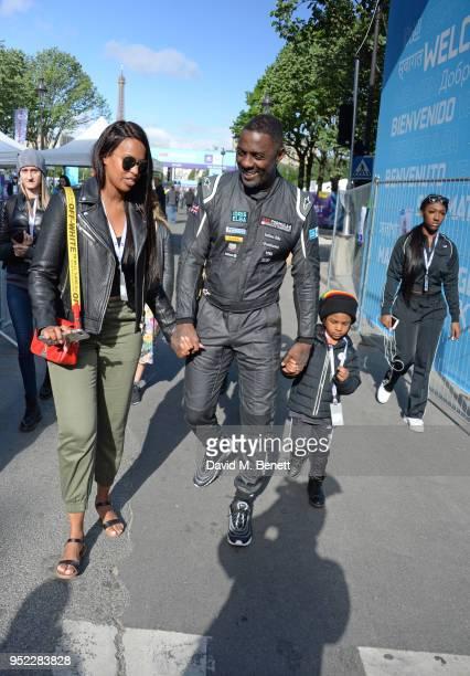 Idris Elba walks with fiance Sabrina Dhowre son Winston Elba and daughter Isan Elba at the ABB FIA Formula E Qatar Airways Paris EPrix 2018 on April...
