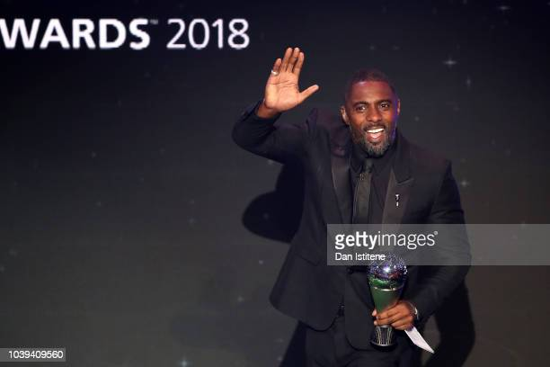 Idris Elba waves to the crowd during the The Best FIFA Football Awards Show at Royal Festival Hall on September 24 2018 in London England