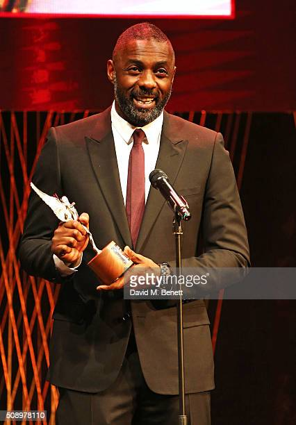 Idris Elba winner of the Best Actor award for 'Beasts Of No Nation' at the London Evening Standard British Film Awards at Television Centre on...