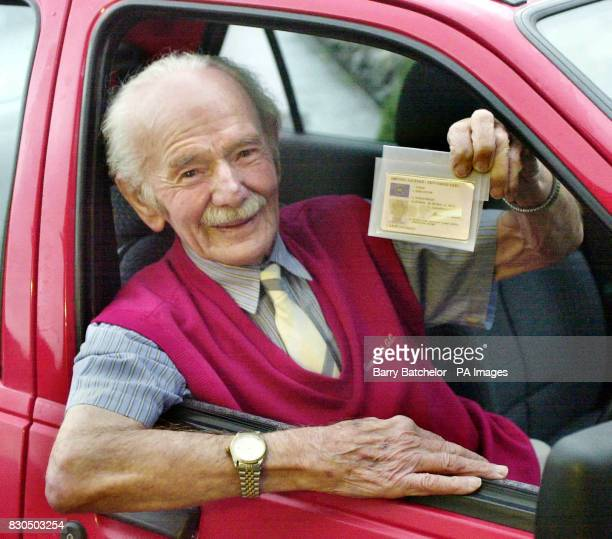 Idris Evans aged 97 showing off his new driving licence which has been renewed Mr Evans has driven for 84 years without a single accident but has...