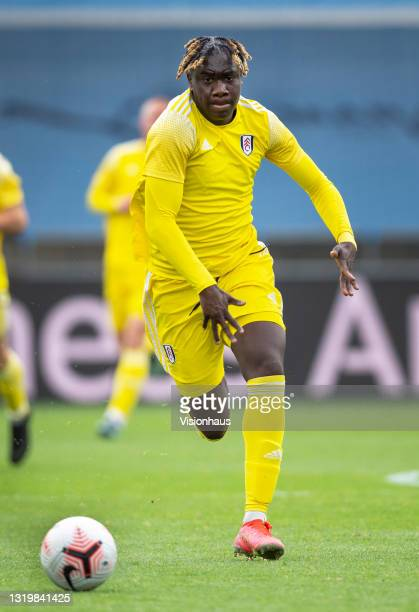 Idris Odutayo of Fulham during the U18 Premier League match between Manchester City and Fulham at The Academy Stadium on May 22, 2021 in Manchester,...