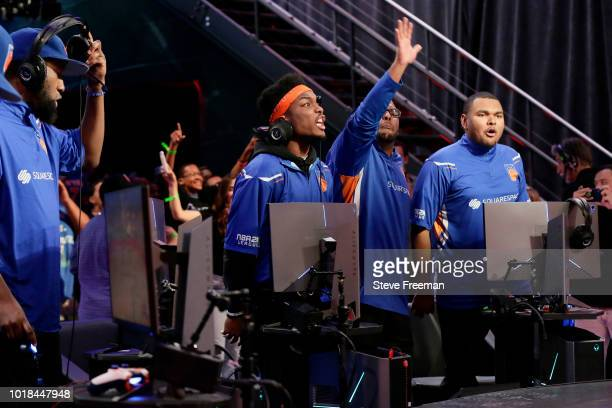 iamadamthe1st of the Knicks Gaming reacts during the game against the Blazer5 Gaming during the NBA 2K League Playoffs on August 17 2018 at the NBA...
