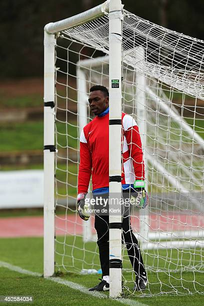 ADELAIDE AUSTRALIA JULY Idriss Carlos Kameni looks on during a Malaga CF training session at Santos Stadium on July 24 2014 in Adelaide Australia