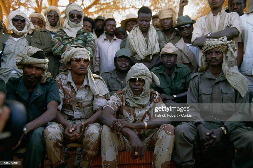 Idriss Deby (front row, 2nd from the L), leader of the Forces Armees Nationales Chadiennes (FANT), or National Army of Chad, attends a press conferences with his soldiers in Wadi Doum. Their mission in early 1987 was to reconquer the Borkou-Ennedi-Tibesti Prefecture and recover the territory in northern Chad that had been under Libyan control.