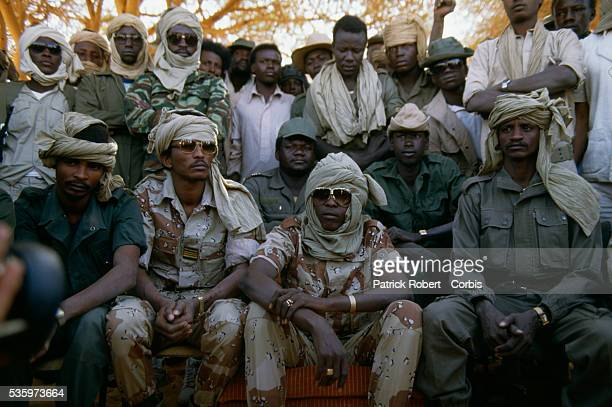 Idriss Deby leader of the Forces Armees Nationales Chadiennes or National Army of Chad attends a press conferences with his soldiers in Wadi Doum...