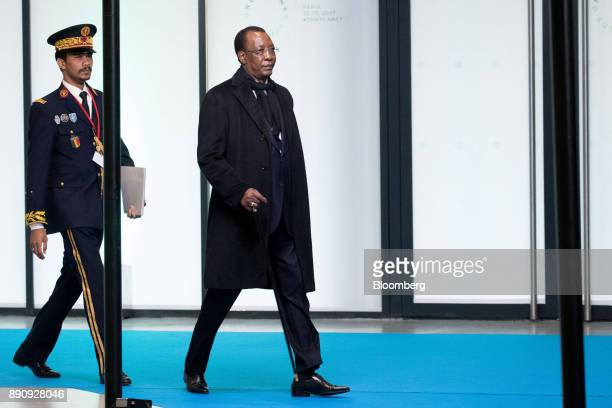 Idriss Deby president of Chad right arrives at the One Planet Summit in Paris France on Tuesday Dec 12 2017 French President Emmanuel Macron hosts at...
