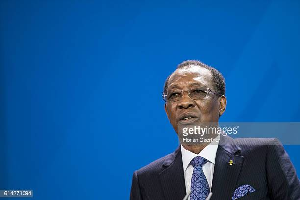 Idriss Deby President of Chad speaks to the media on October 12 2016 in Berlin Germany
