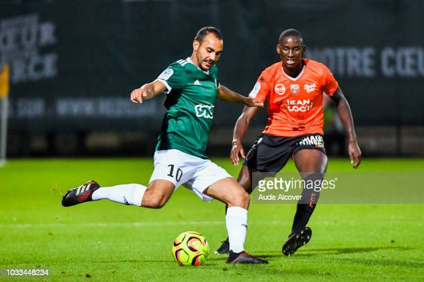 Idriss Mhirsi of Red Star and Houboulang Mendes of Lorient during the French Ligue 2 match between Red star and Lorient at Stade Pierre Brisson on...