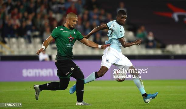Idriss Saadi of Cercle battles for the ball with Clinton Mata of Club Brugge during the Jupiler Pro League match between Cercle Brugge and Club...