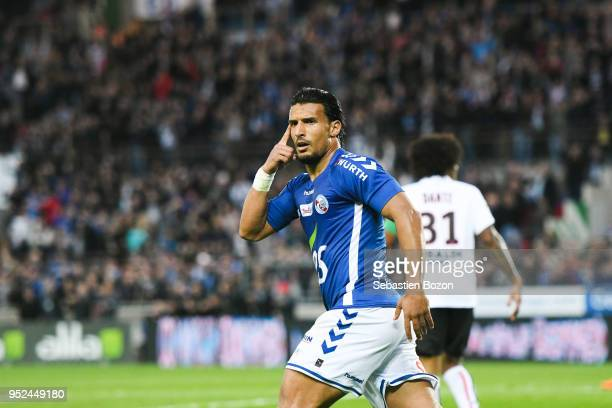Idriss Saadi of RC Strasbourg during the Ligue 1 match between Strasbourg and OGC Nice at on April 28 2018 in Strasbourg