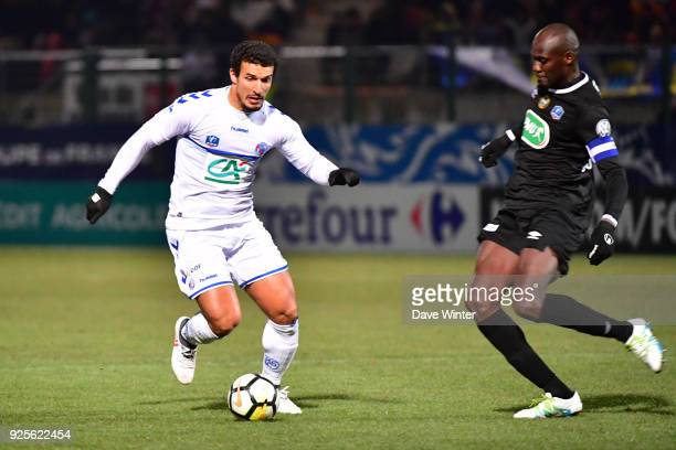 Idriss Saadi of Strasbourg and Gaharo Mady Doucoure of Chambly during the French Cup match between Chambly and Strasbourg at Stade Pierre Brisson on...