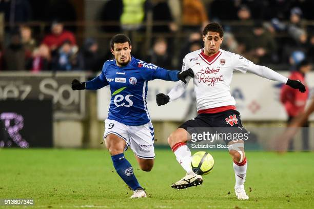 Idriss Saadi of Strasbourg and Pablo Nascimento Castro of Bordeaux during the Ligue 1 match between Strasbourg and Bordeaux at on February 3 2018 in...