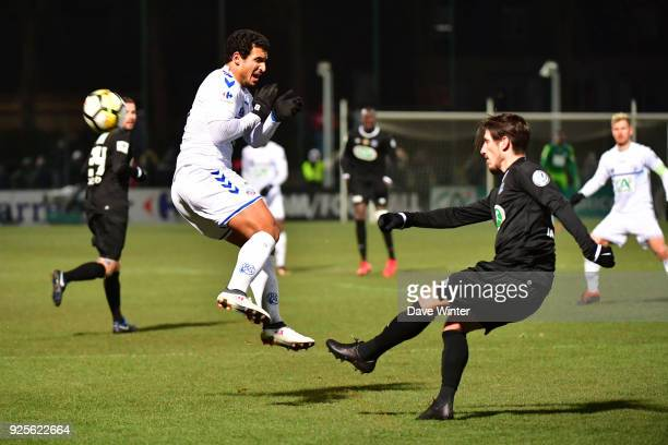 Idriss Saadi of Strasbourg and Thibault Jacques of Chambly during the French Cup match between Chambly and Strasbourg at Stade Pierre Brisson on...