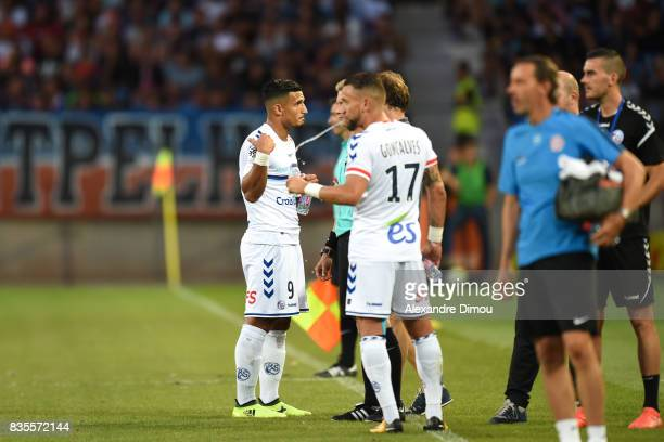 Idriss Saadi of Strasbourg during the Ligue 1 match between Montpellier Herault SC and Strasbourg at Stade de la Mosson on August 19 2017 in...