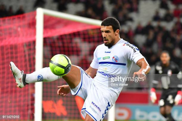 Idriss Saadi of Strasbourg during the Ligue 1 match between Lille OSC and Strasbourg at Stade Pierre Mauroy on January 28 2018 in Lille France