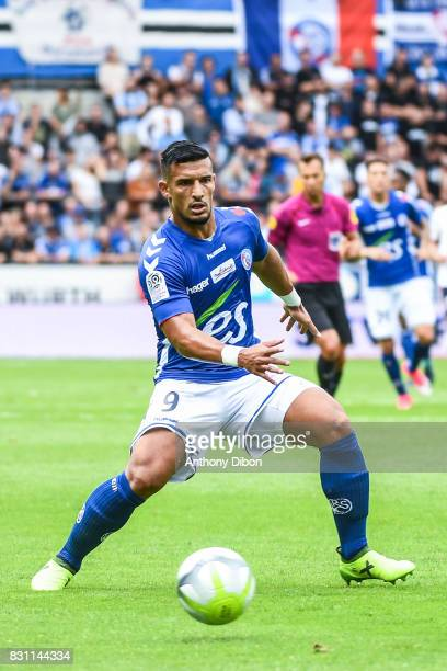 Idriss Saadi of Strasbourg during the Ligue 1 match between Racing Club Strasbourg and Lille OSC at Stade de la Meinau on August 13 2017 in Strasbourg