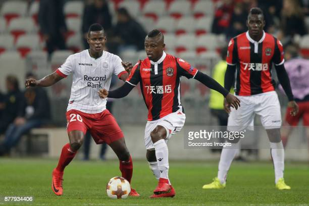 Idrissa Doumbia of Zulte Waregem Jean Seri of Nice during the UEFA Europa League match between Nice v Zulte Waregem at the Allianz Riviera on...