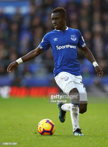 Idrissa Gana Gueye of Eveton in action during the Premier League match between Everton FC and Leicester City at Goodison Park on January 01 2019 in...