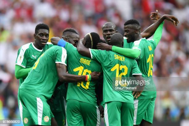 Idrissa Gana Gueye of Senegal celebrates the first Senegal goal with team mates of Senegal during the 2018 FIFA World Cup Russia group H match...