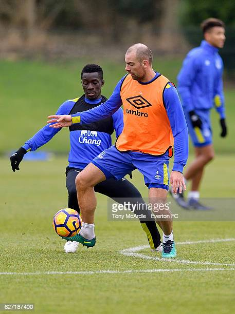 Idrissa Gueye and Darron Gibson during the Everton FC training session at Finch Farm on December 2 2016 in Halewood England